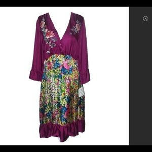 NWT Johnny Was peacock Silk Embroidered Dress